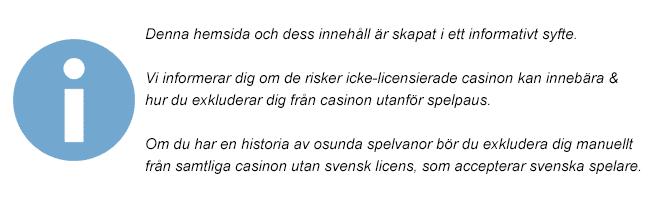 disclaimer casinosidor utan licens